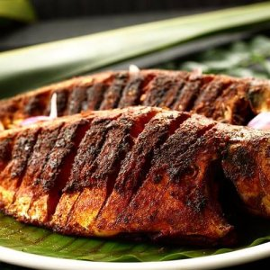 Ikan Pepes garnished for food recipe