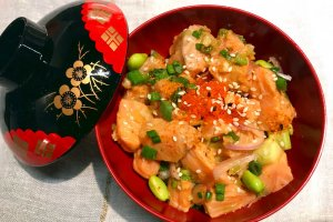 Salmon Poke Bowl made during Japanese Cooking Class